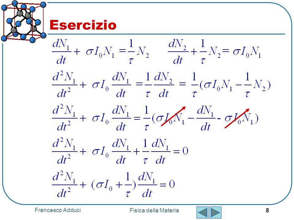 Francesco Adduci Fisica della Materia 8 Esercizio