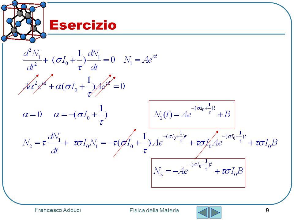Francesco Adduci Fisica della Materia 9 Esercizio