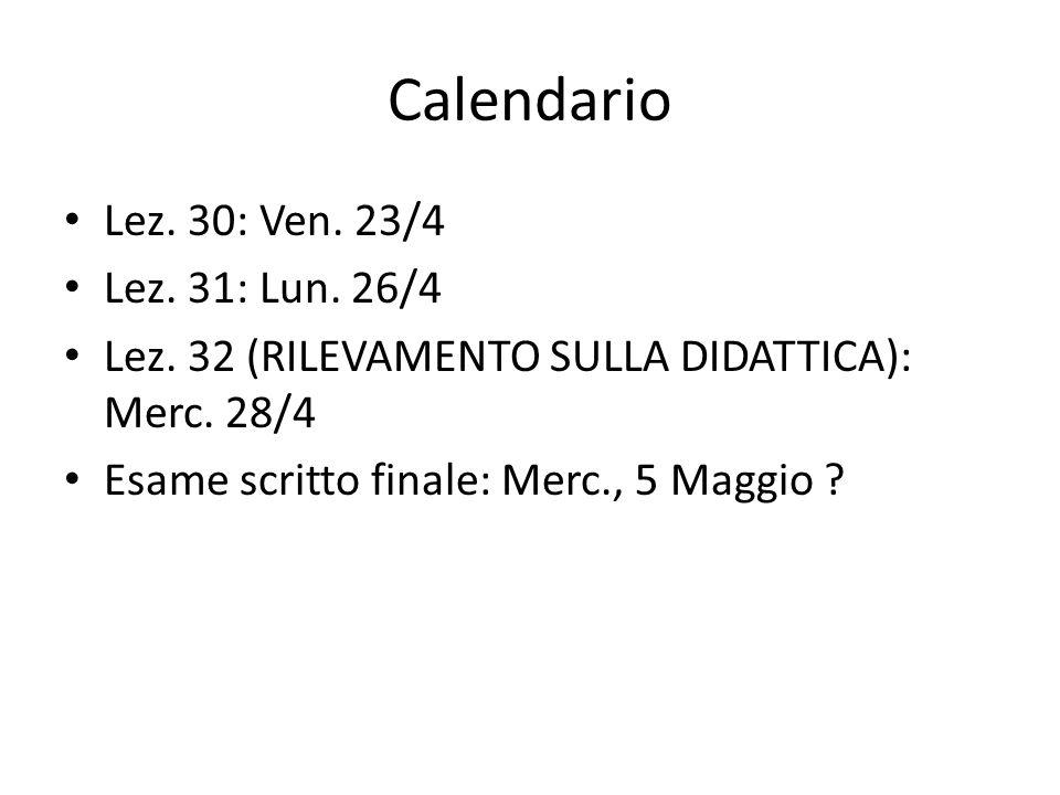 Calendario Lez. 30: Ven. 23/4 Lez. 31: Lun. 26/4 Lez. 32 (RILEVAMENTO SULLA DIDATTICA): Merc. 28/4 Esame scritto finale: Merc., 5 Maggio ?