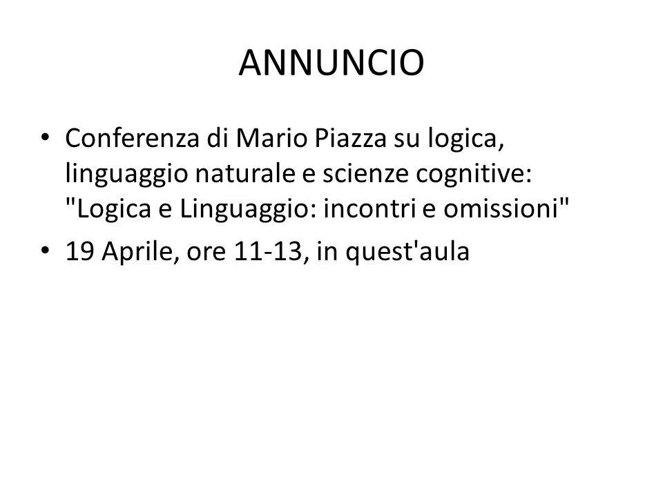 ANNUNCIO Conferenza di Mario Piazza su logica, linguaggio naturale e scienze cognitive: