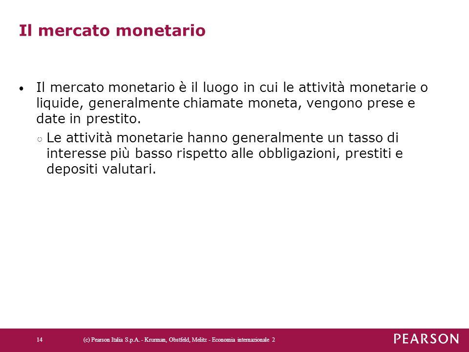 Il mercato monetario Il mercato monetario è il luogo in cui le attività monetarie o liquide, generalmente chiamate moneta, vengono prese e date in pre