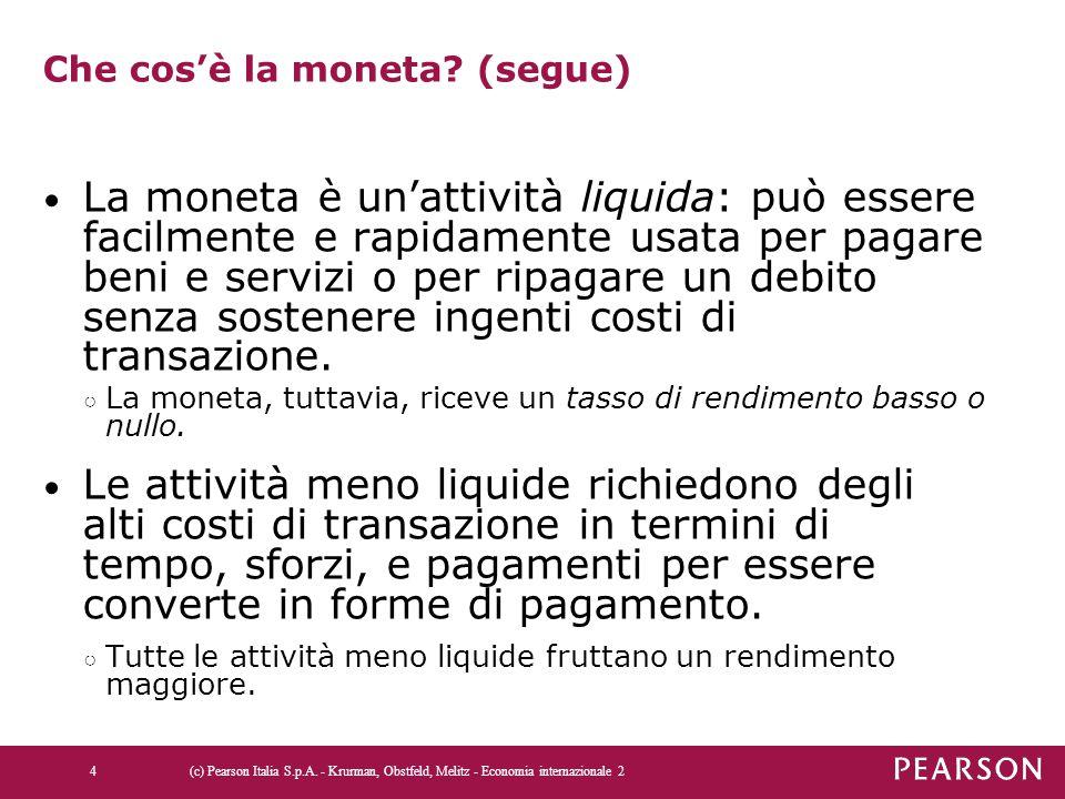 Che cos'è la moneta? (segue) La moneta è un'attività liquida: può essere facilmente e rapidamente usata per pagare beni e servizi o per ripagare un de