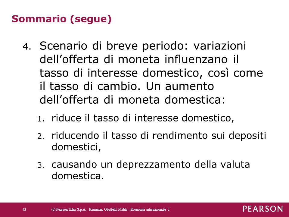Sommario (segue) 4. Scenario di breve periodo: variazioni dell'offerta di moneta influenzano il tasso di interesse domestico, così come il tasso di ca