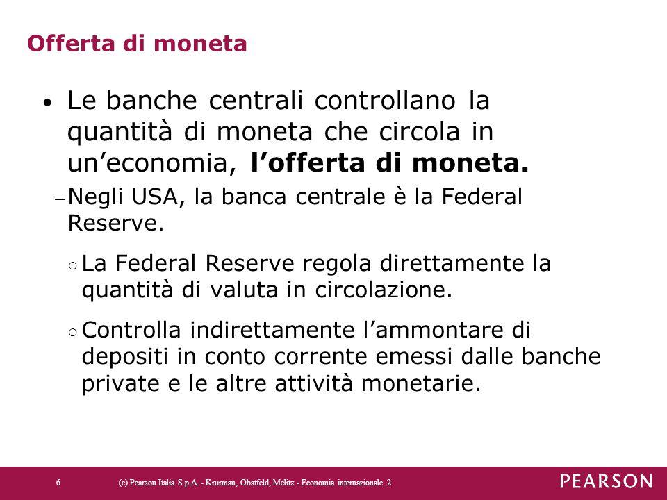 Offerta di moneta Le banche centrali controllano la quantità di moneta che circola in un'economia, l'offerta di moneta. – Negli USA, la banca centrale