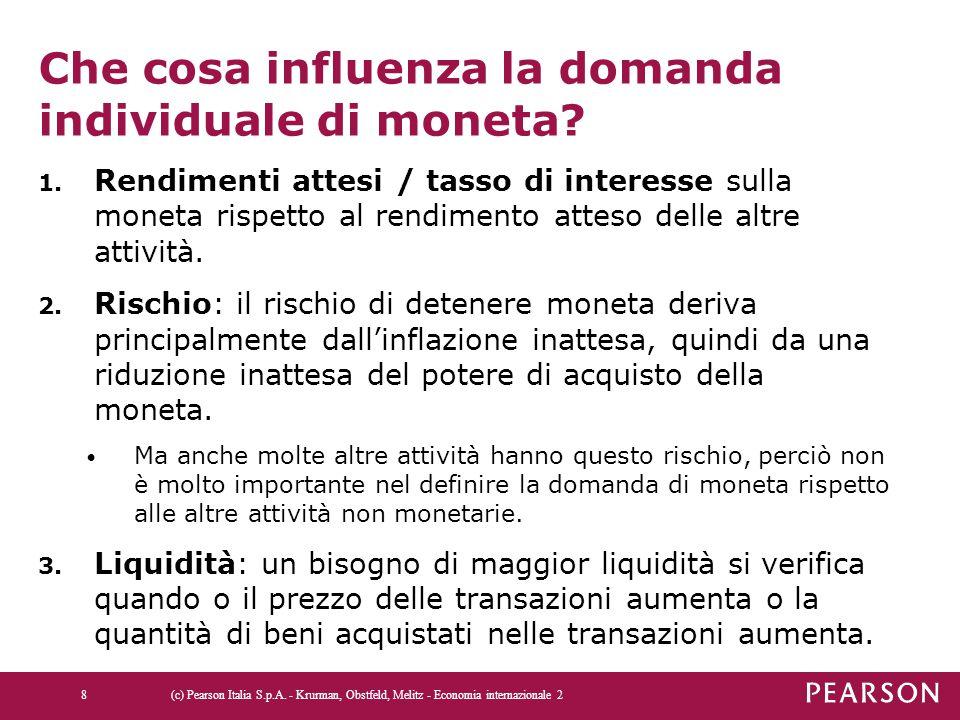 Che cosa influenza la domanda individuale di moneta? 1. Rendimenti attesi / tasso di interesse sulla moneta rispetto al rendimento atteso delle altre