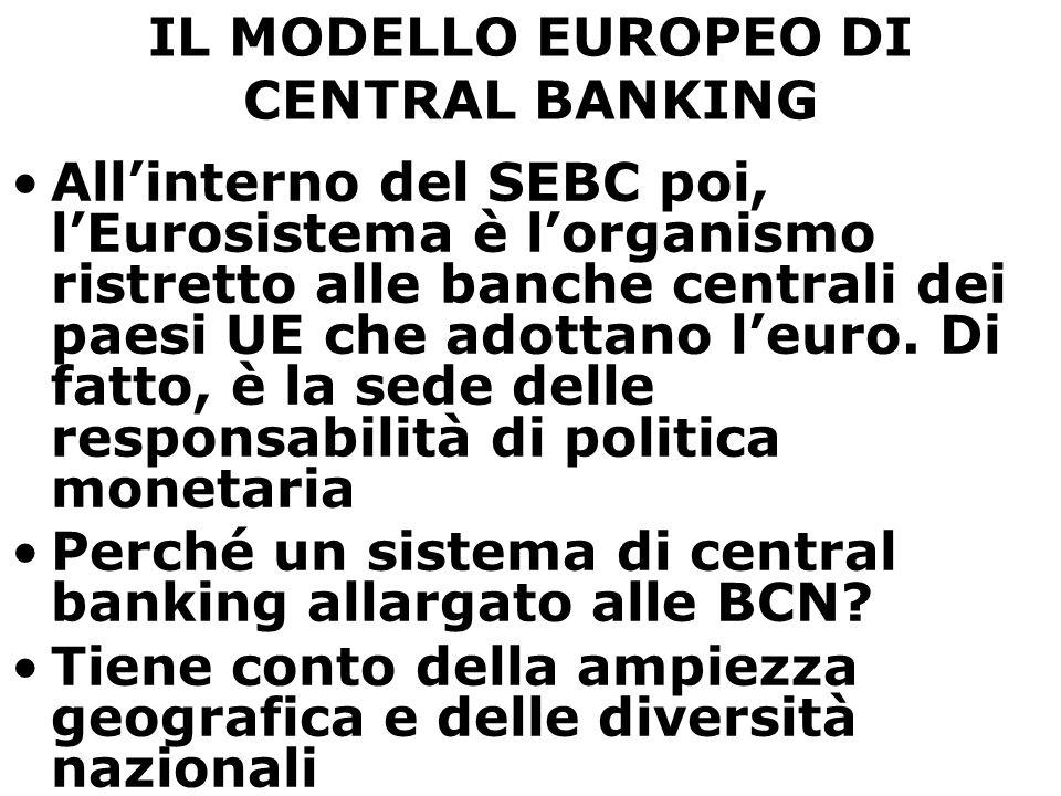 IL MODELLO EUROPEO DI CENTRAL BANKING All'interno del SEBC poi, l'Eurosistema è l'organismo ristretto alle banche centrali dei paesi UE che adottano l