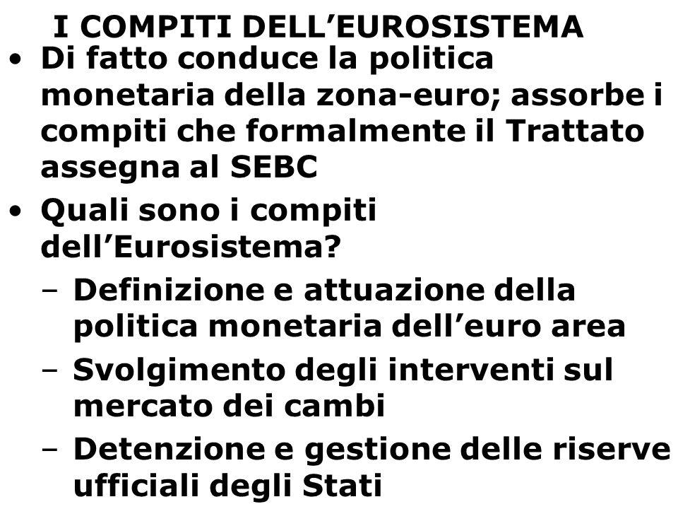 I COMPITI DELL'EUROSISTEMA Di fatto conduce la politica monetaria della zona-euro; assorbe i compiti che formalmente il Trattato assegna al SEBC Quali