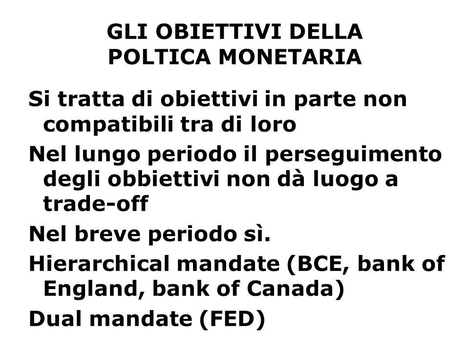 GLI OBIETTIVI DELLA POLTICA MONETARIA In generale ogni banca centrale ha una sua gerarchia di obiettivi Ad esempio, per la BCE la stabilità dei prezzi è l'obiettivo fondamentale, sancito anche nel Trattato della Comunità (questo rappresenta la base giuridica della politica monetaria unica) In questa prospettiva è essenziale che l'indipendenza della Banca dal potere politico sia tutelata