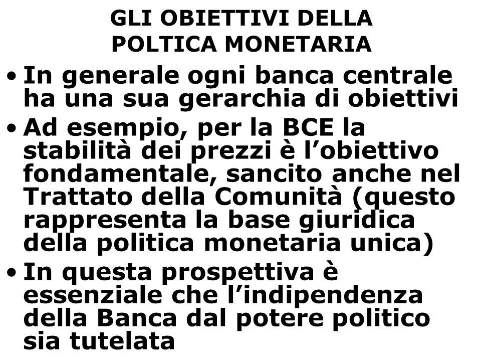 GLI OBIETTIVI DELLA POLTICA MONETARIA In generale ogni banca centrale ha una sua gerarchia di obiettivi Ad esempio, per la BCE la stabilità dei prezzi