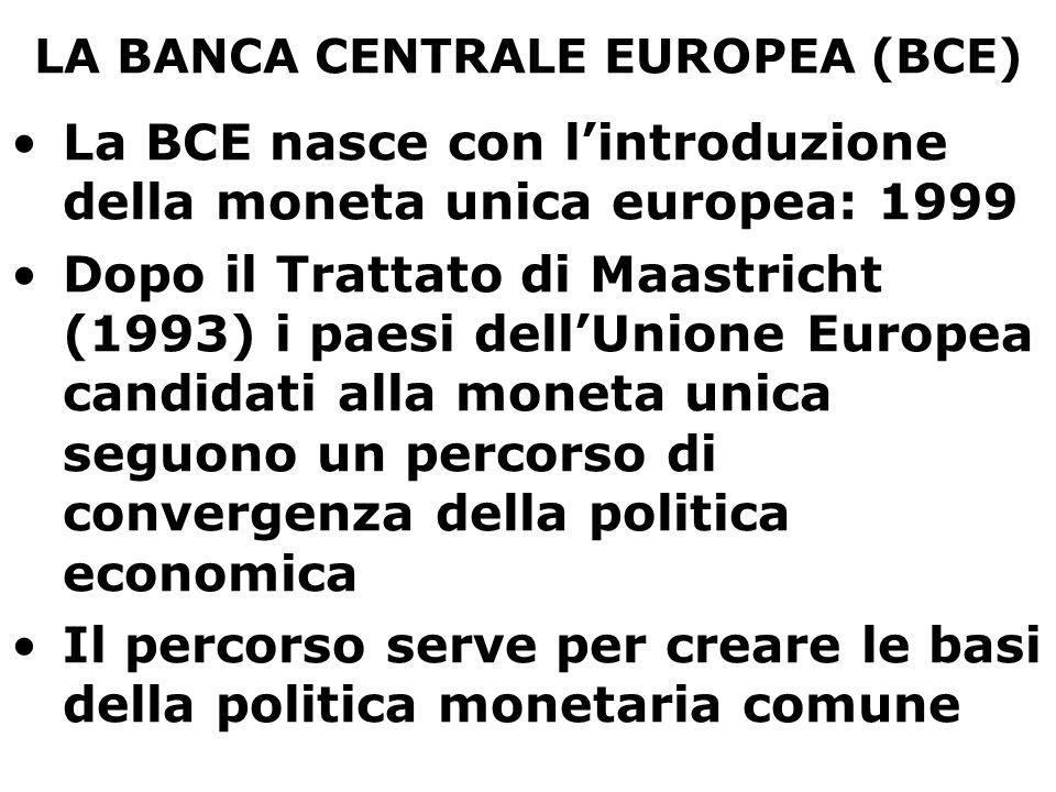 LA BANCA CENTRALE EUROPEA (BCE) Nel 1999 vengono fissati i rapporti di cambio tra le monete nazionali e l'euro; nel 2002 l'euro comincia a circolare La nascita dell'euro comporta il trasferimento della politica monetaria della 'zona Euro' ad un livello sovranazionale Il governo della moneta deve infatti essere svolto in modo unitario su tutta l'area economica dei paesi che hanno adottato l'euro