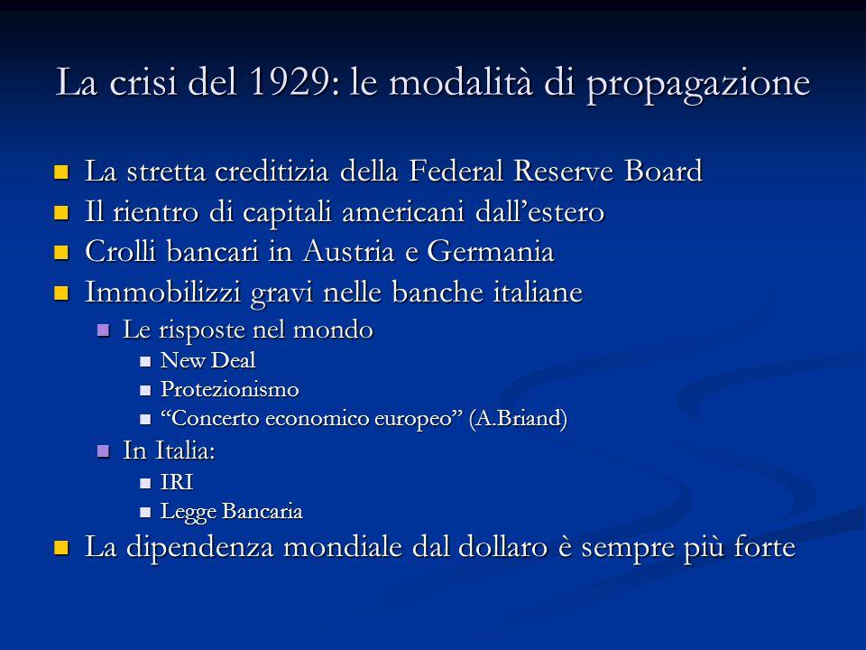 La crisi del 1929: le modalità di propagazione La stretta creditizia della Federal Reserve Board La stretta creditizia della Federal Reserve Board Il