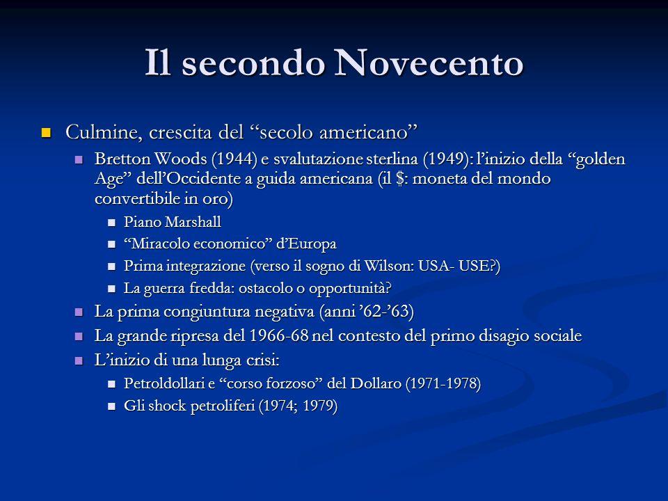"""Il secondo Novecento Culmine, crescita del """"secolo americano"""" Culmine, crescita del """"secolo americano"""" Bretton Woods (1944) e svalutazione sterlina (1"""