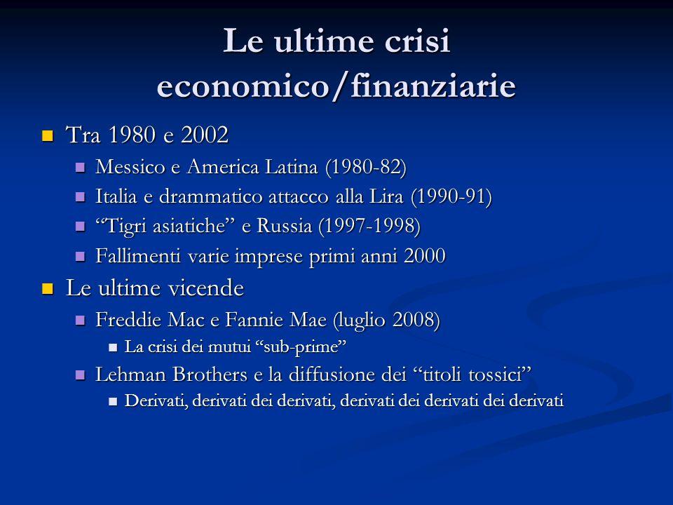 Le ultime crisi economico/finanziarie Tra 1980 e 2002 Tra 1980 e 2002 Messico e America Latina (1980-82) Messico e America Latina (1980-82) Italia e d