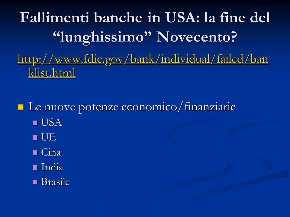 """Fallimenti banche in USA: la fine del """"lunghissimo"""" Novecento? http://www.fdic.gov/bank/individual/failed/ban klist.html http://www.fdic.gov/bank/indi"""