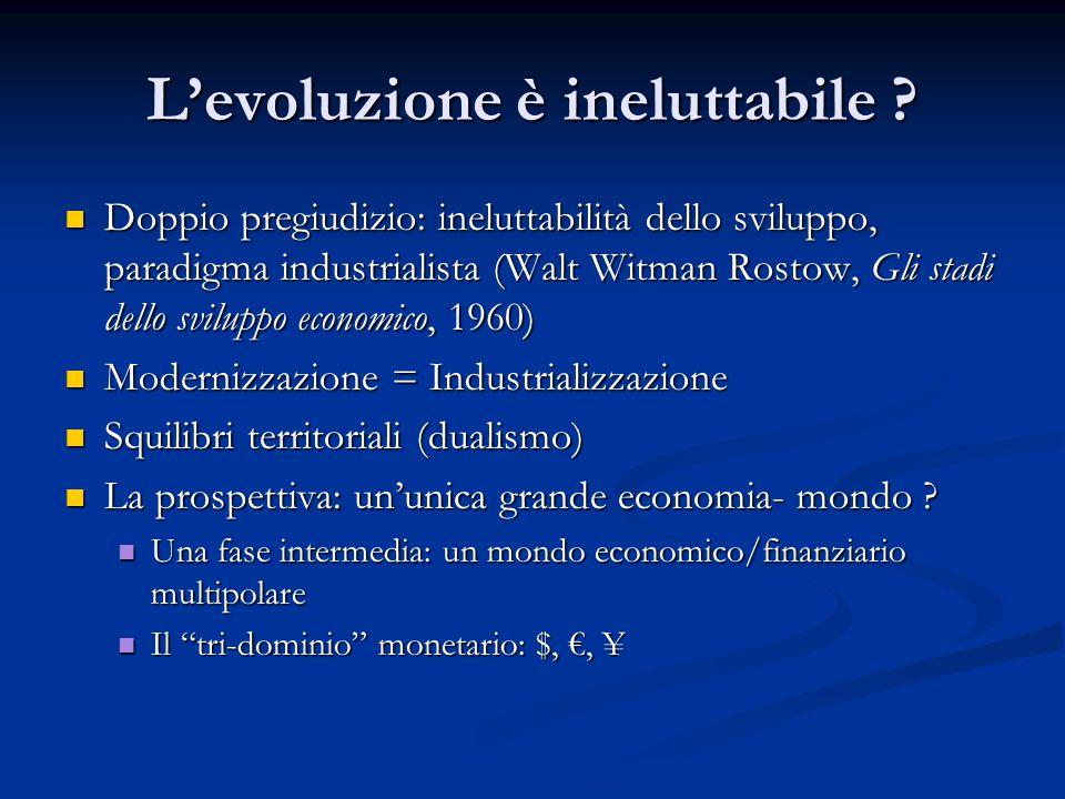 L'evoluzione è ineluttabile ? Doppio pregiudizio: ineluttabilità dello sviluppo, paradigma industrialista (Walt Witman Rostow, Gli stadi dello svilupp