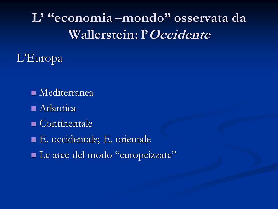 """L' """"economia –mondo"""" osservata da Wallerstein: l'Occidente L'Europa Mediterranea Mediterranea Atlantica Atlantica Continentale Continentale E. occiden"""