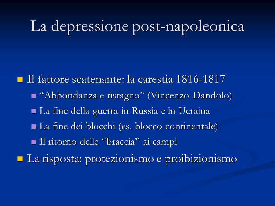 """La depressione post-napoleonica Il fattore scatenante: la carestia 1816-1817 Il fattore scatenante: la carestia 1816-1817 """"Abbondanza e ristagno"""" (Vin"""