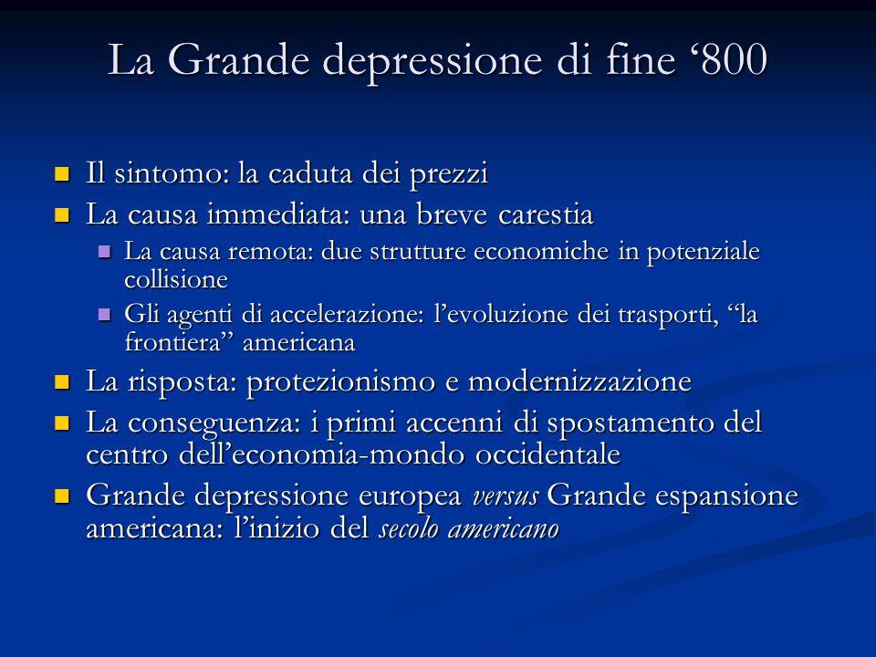 La Grande depressione di fine '800 Il sintomo: la caduta dei prezzi Il sintomo: la caduta dei prezzi La causa immediata: una breve carestia La causa i