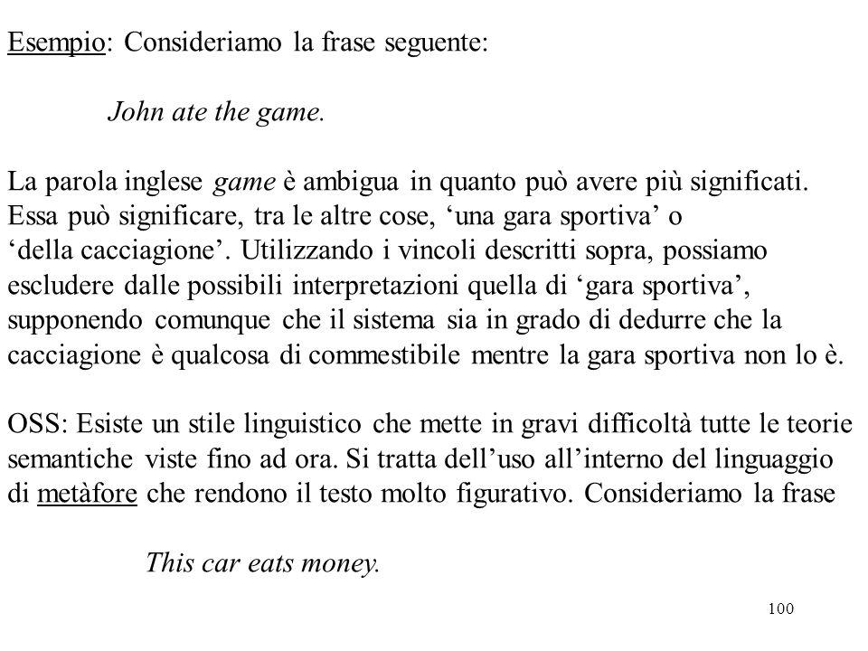 100 Esempio: Consideriamo la frase seguente: John ate the game. La parola inglese game è ambigua in quanto può avere più significati. Essa può signifi
