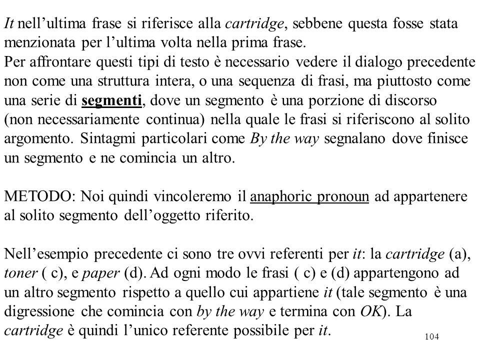 104 It nell'ultima frase si riferisce alla cartridge, sebbene questa fosse stata menzionata per l'ultima volta nella prima frase. Per affrontare quest