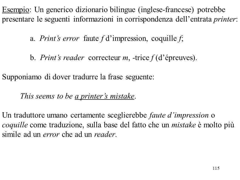 115 Esempio: Un generico dizionario bilingue (inglese-francese) potrebbe presentare le seguenti informazioni in corrispondenza dell'entrata printer: a