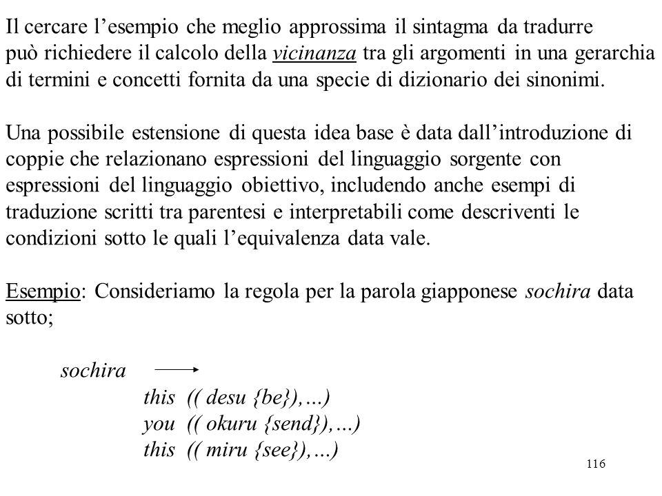 116 Il cercare l'esempio che meglio approssima il sintagma da tradurre può richiedere il calcolo della vicinanza tra gli argomenti in una gerarchia di