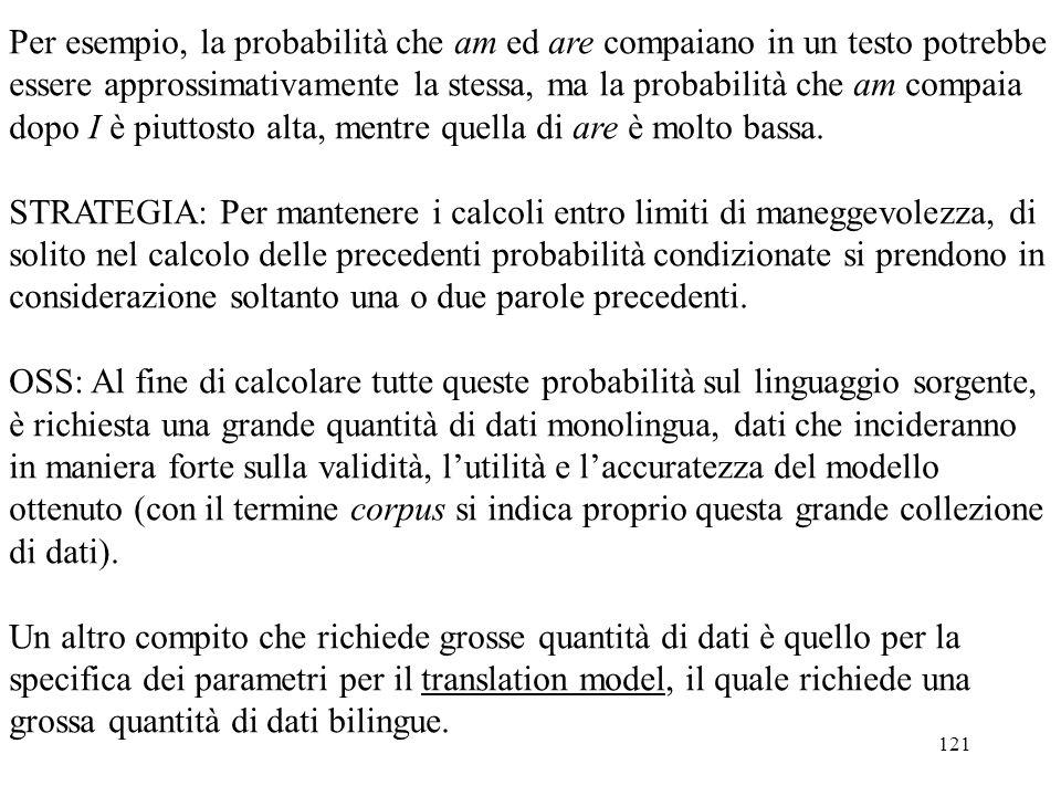 121 Per esempio, la probabilità che am ed are compaiano in un testo potrebbe essere approssimativamente la stessa, ma la probabilità che am compaia do