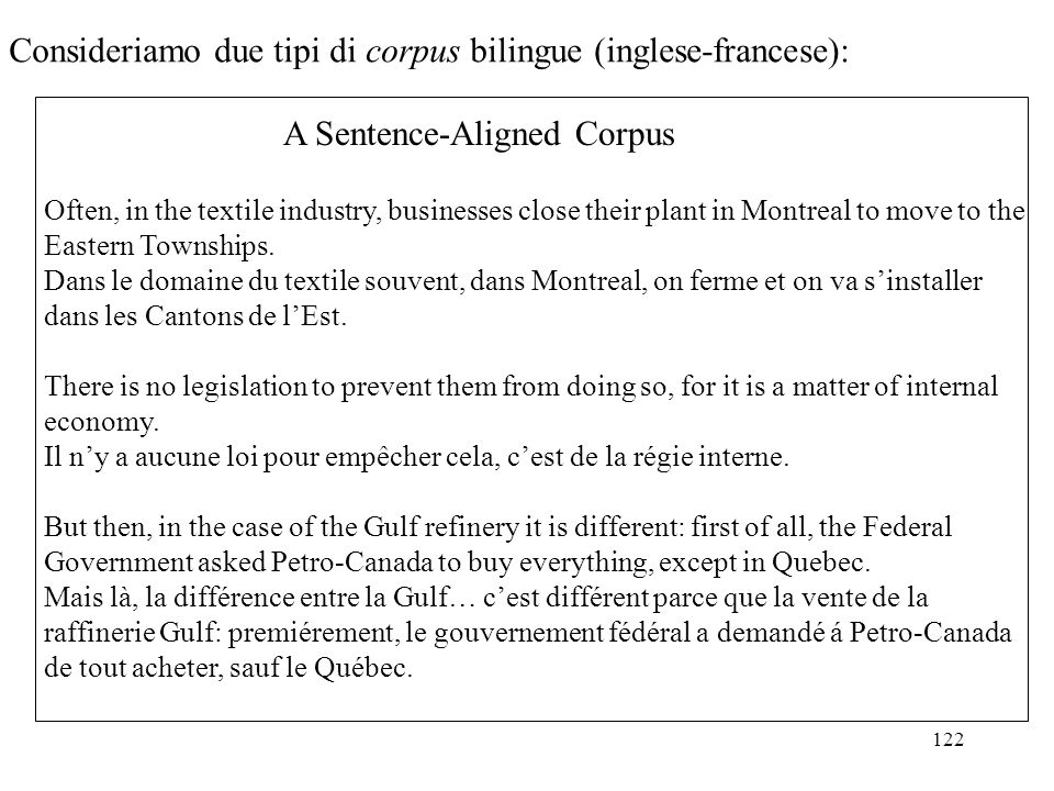 122 Consideriamo due tipi di corpus bilingue (inglese-francese): A Sentence-Aligned Corpus Often, in the textile industry, businesses close their plan