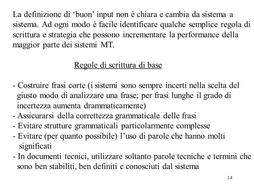 14 La definizione di 'buon' input non è chiara e cambia da sistema a sistema. Ad ogni modo è facile identificare qualche semplice regola di scrittura