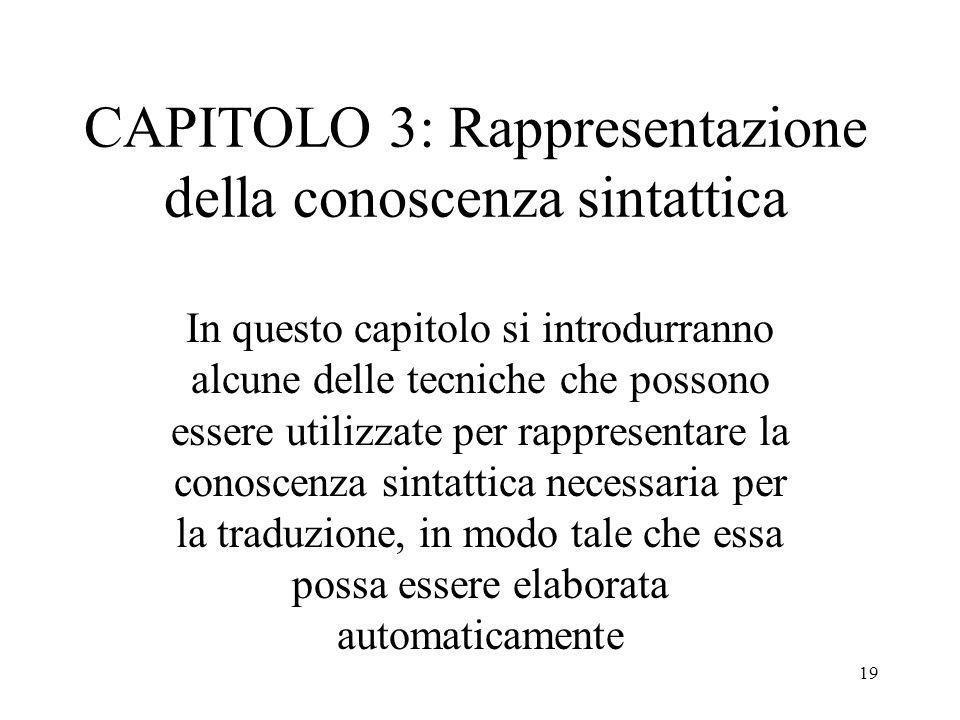 19 CAPITOLO 3: Rappresentazione della conoscenza sintattica In questo capitolo si introdurranno alcune delle tecniche che possono essere utilizzate pe