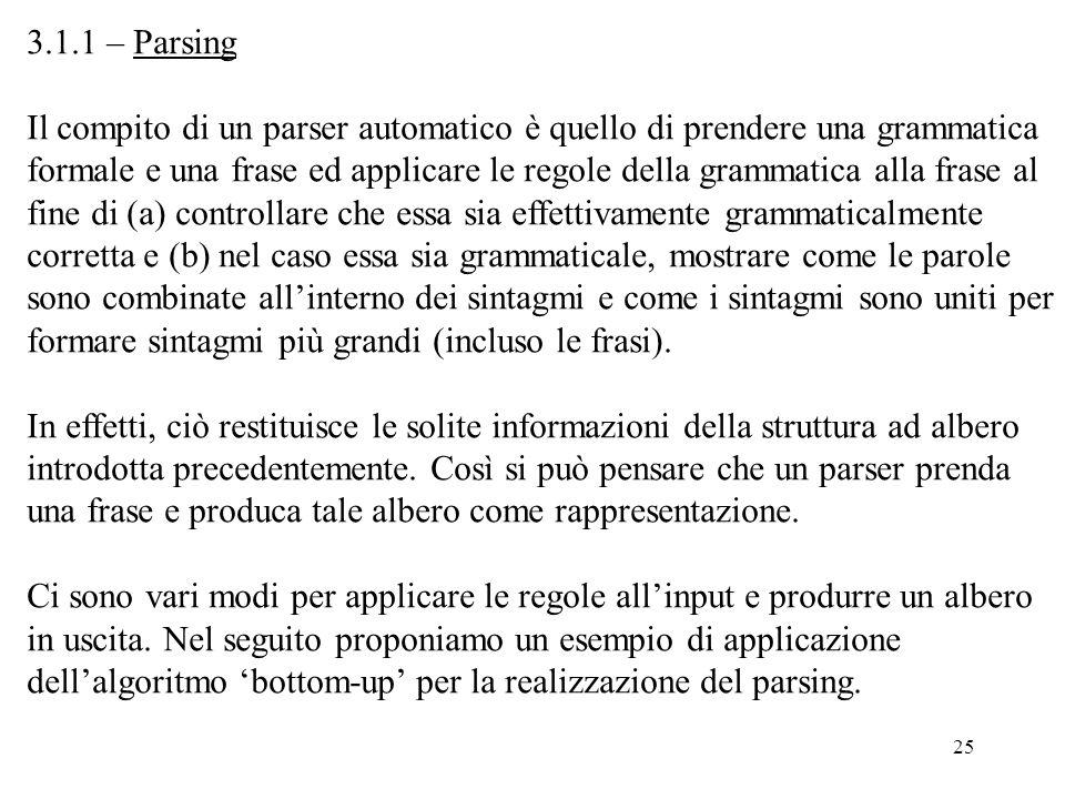 25 3.1.1 – Parsing Il compito di un parser automatico è quello di prendere una grammatica formale e una frase ed applicare le regole della grammatica