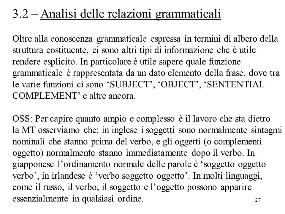 27 3.2 – Analisi delle relazioni grammaticali Oltre alla conoscenza grammaticale espressa in termini di albero della struttura costituente, ci sono al