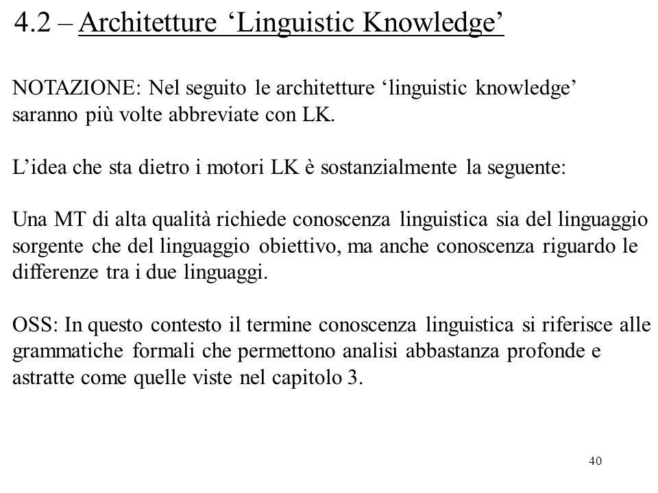 40 4.2 – Architetture 'Linguistic Knowledge' NOTAZIONE: Nel seguito le architetture 'linguistic knowledge' saranno più volte abbreviate con LK. L'idea