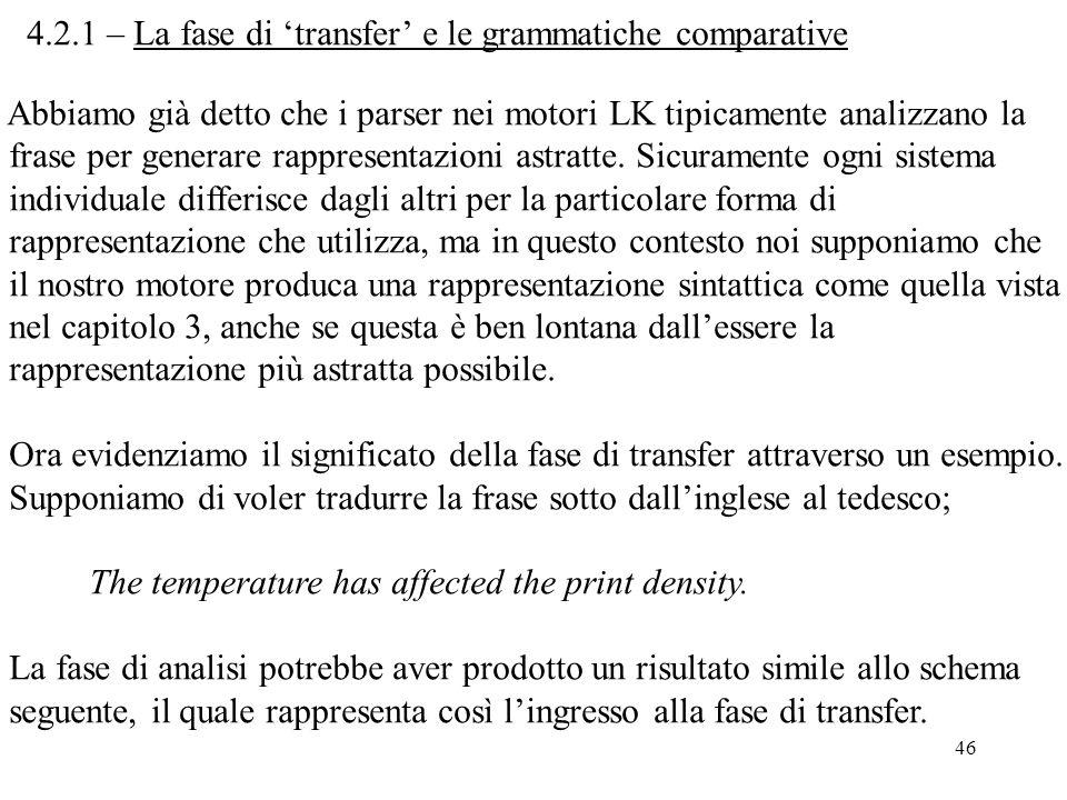 46 4.2.1 – La fase di 'transfer' e le grammatiche comparative Abbiamo già detto che i parser nei motori LK tipicamente analizzano la frase per generar