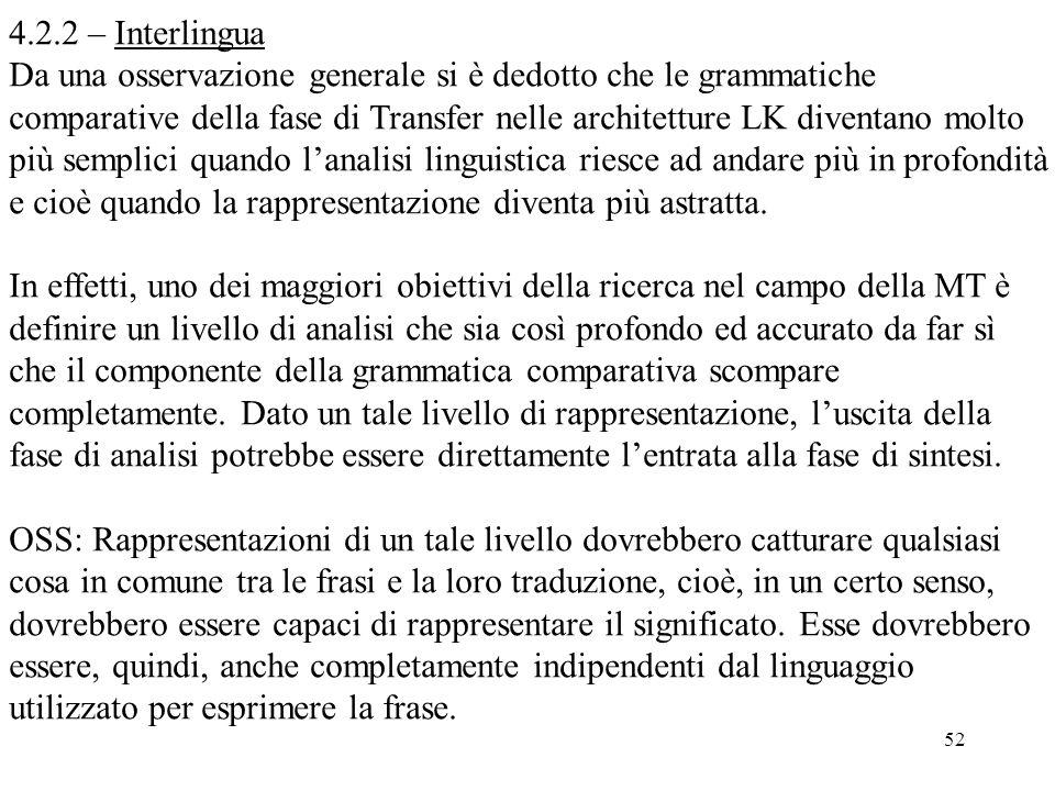 52 4.2.2 – Interlingua Da una osservazione generale si è dedotto che le grammatiche comparative della fase di Transfer nelle architetture LK diventano