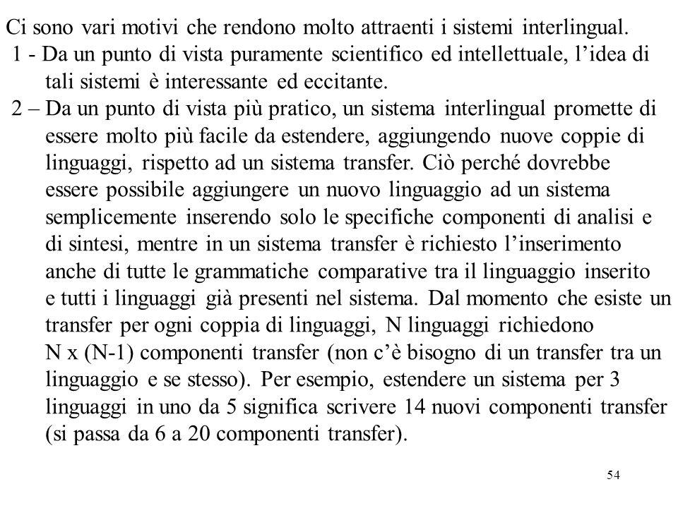 54 Ci sono vari motivi che rendono molto attraenti i sistemi interlingual. 1 - Da un punto di vista puramente scientifico ed intellettuale, l'idea di