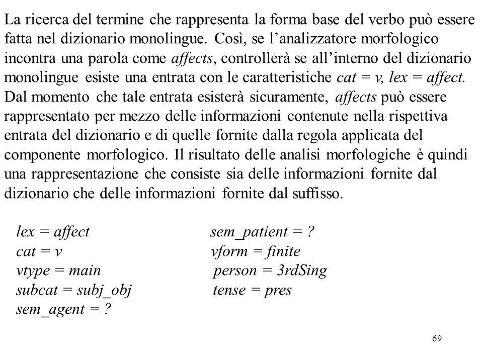 69 La ricerca del termine che rappresenta la forma base del verbo può essere fatta nel dizionario monolingue. Così, se l'analizzatore morfologico inco