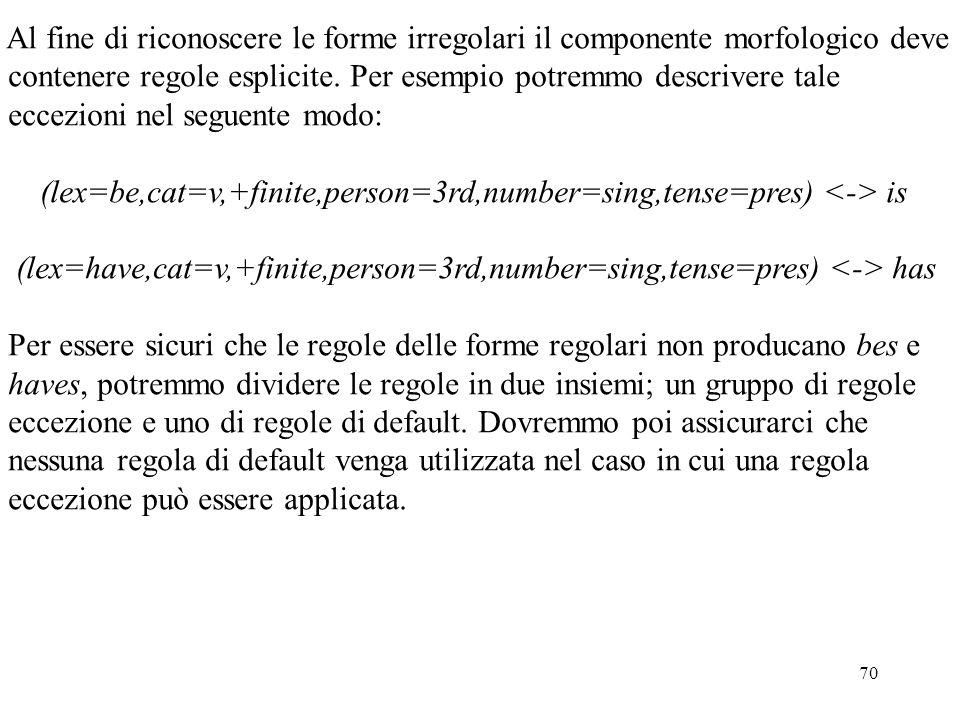 70 Al fine di riconoscere le forme irregolari il componente morfologico deve contenere regole esplicite. Per esempio potremmo descrivere tale eccezion