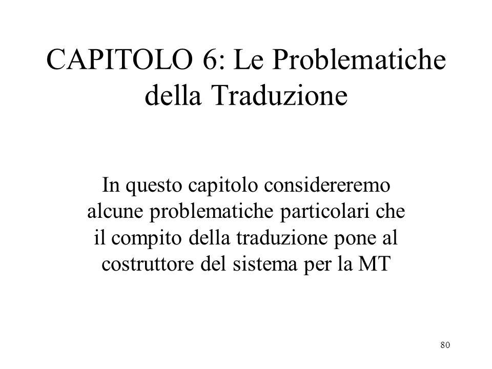 80 CAPITOLO 6: Le Problematiche della Traduzione In questo capitolo considereremo alcune problematiche particolari che il compito della traduzione pon