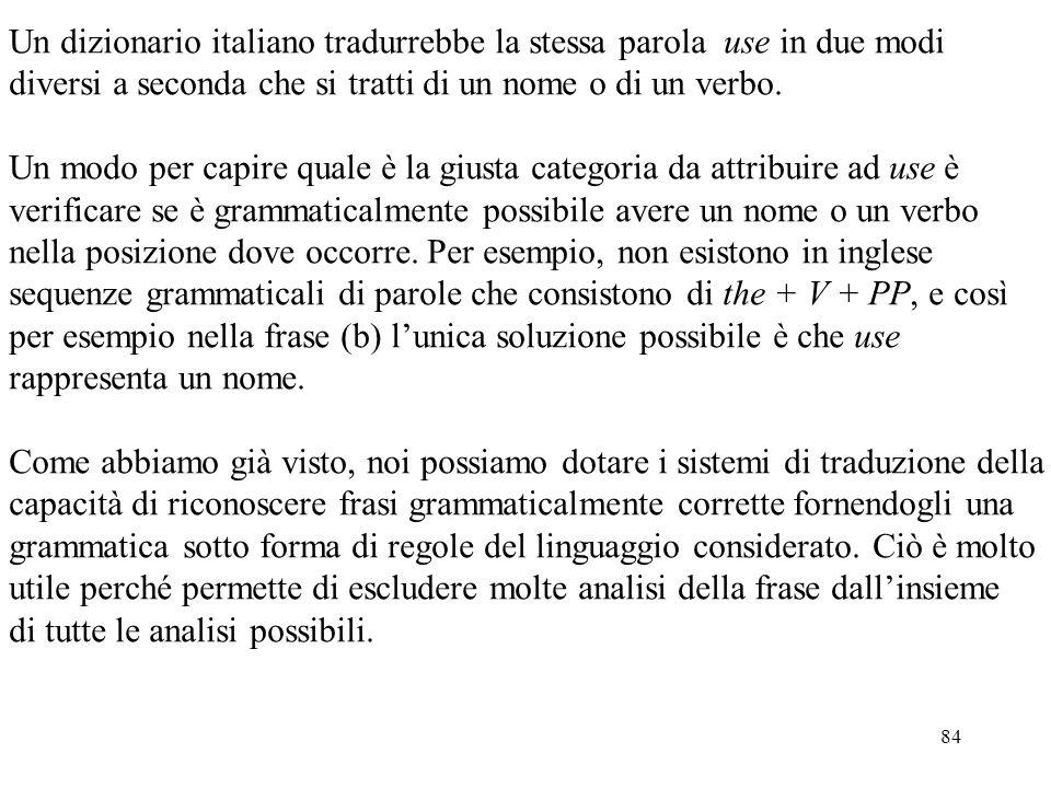 84 Un dizionario italiano tradurrebbe la stessa parola use in due modi diversi a seconda che si tratti di un nome o di un verbo. Un modo per capire qu