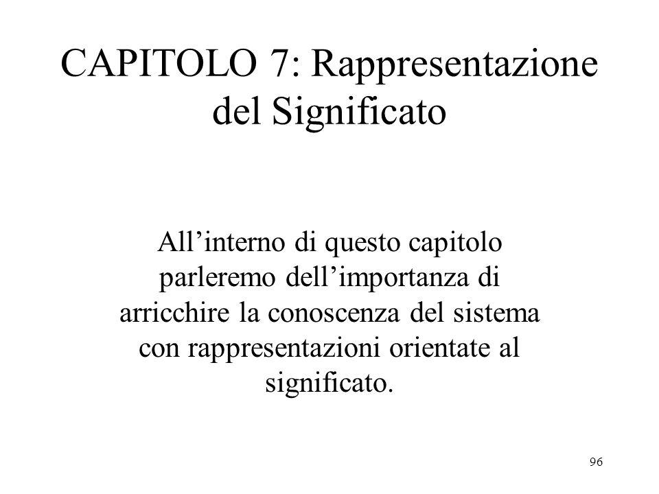 96 CAPITOLO 7: Rappresentazione del Significato All'interno di questo capitolo parleremo dell'importanza di arricchire la conoscenza del sistema con r