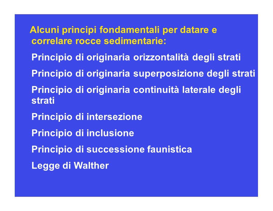 Alcuni principi fondamentali per datare e correlare rocce sedimentarie: Principio di originaria orizzontalità degli strati Principio di originaria sup