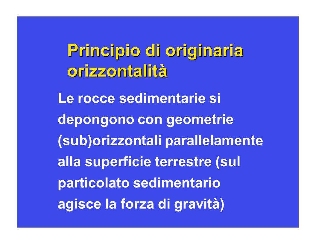 Principio di originaria orizzontalit à à Le rocce sedimentarie si depongono con geometrie (sub)orizzontali parallelamente alla superficie terrestre (s