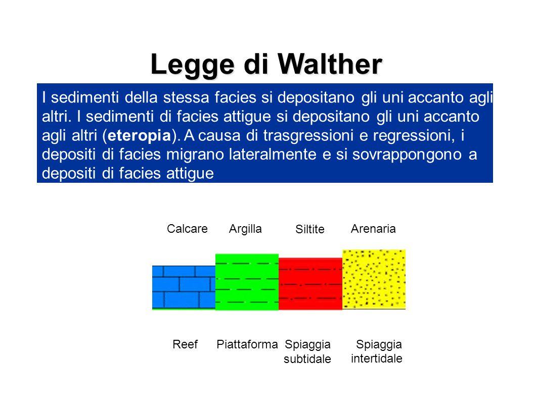 Legge di Walther I sedimenti della stessa facies si depositano gli uni accanto agli altri. I sedimenti di facies attigue si depositano gli uni accanto