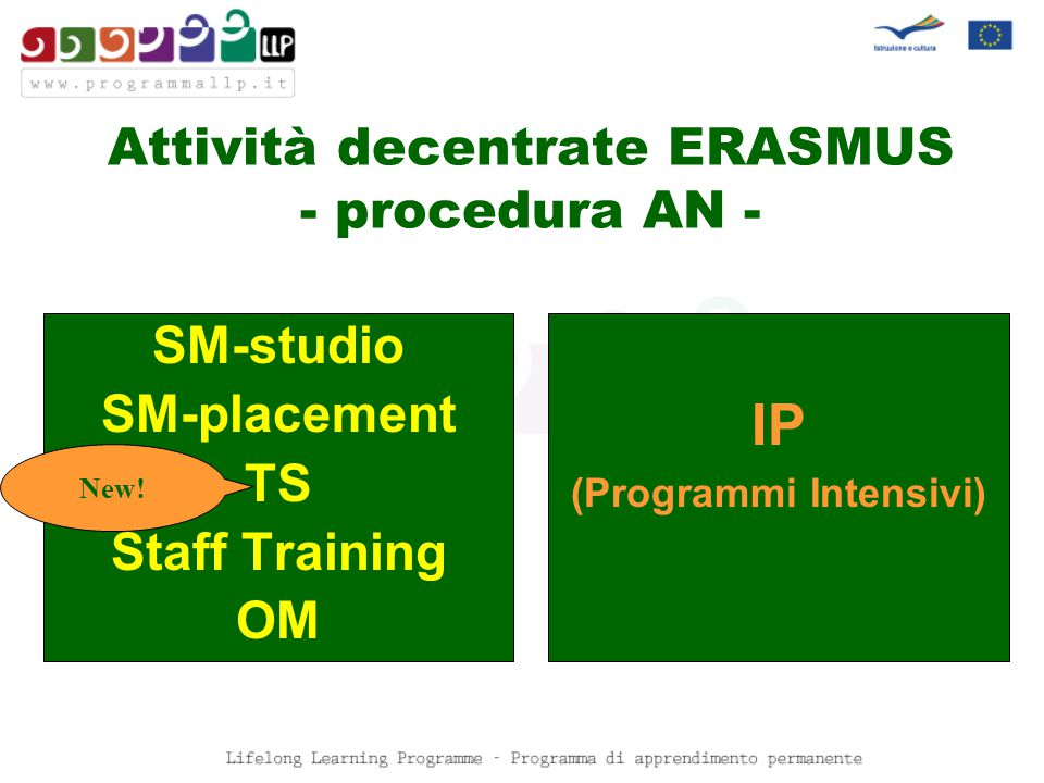 Attività decentrate ERASMUS - procedura AN - SM-studio SM-placement TS Staff Training OM New.