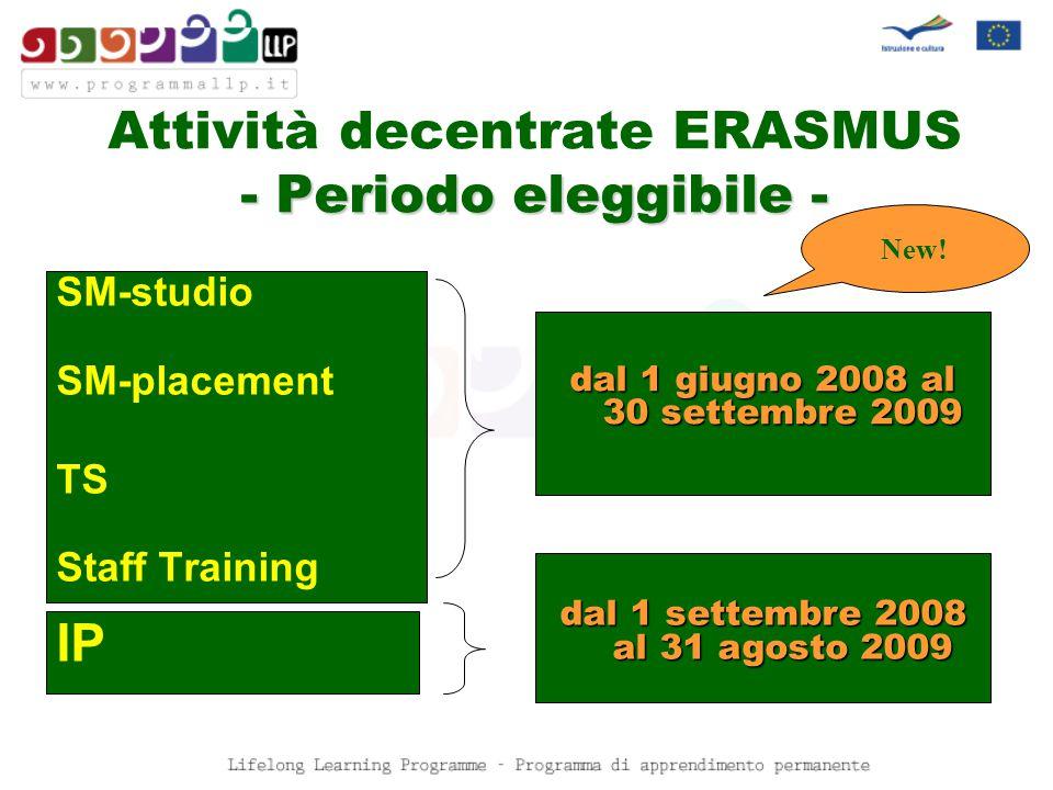 Attività decentrate ERASMUS ON LINE www.programmallp.it sezione Bandi, Moduli, Manuali Candidatura all'AN New!