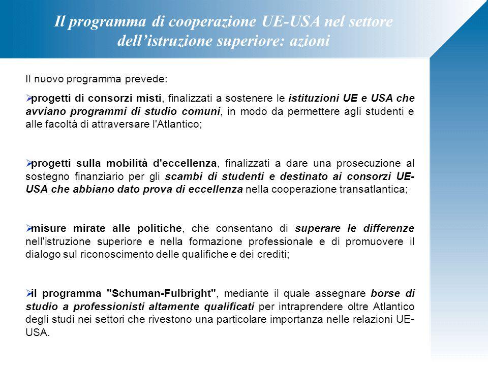 Il programma di cooperazione UE-USA nel settore dell'istruzione superiore: azioni Il nuovo programma prevede:  progetti di consorzi misti, finalizzat