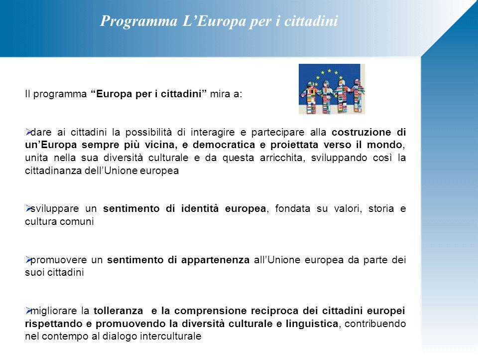 """Programma L'Europa per i cittadini Il programma """"Europa per i cittadini"""" mira a:  dare ai cittadini la possibilità di interagire e partecipare alla c"""