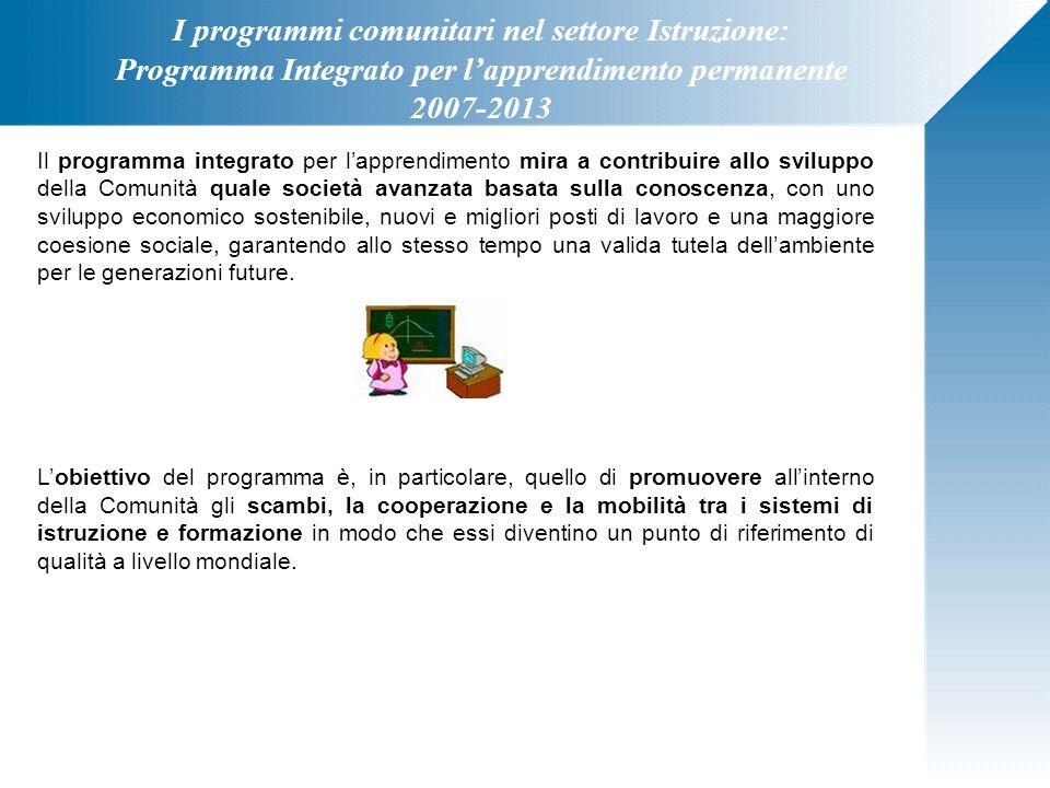 I programmi comunitari nel settore Istruzione: Programma Integrato per l'apprendimento permanente 2007-2013 Il programma integrato per l'apprendimento