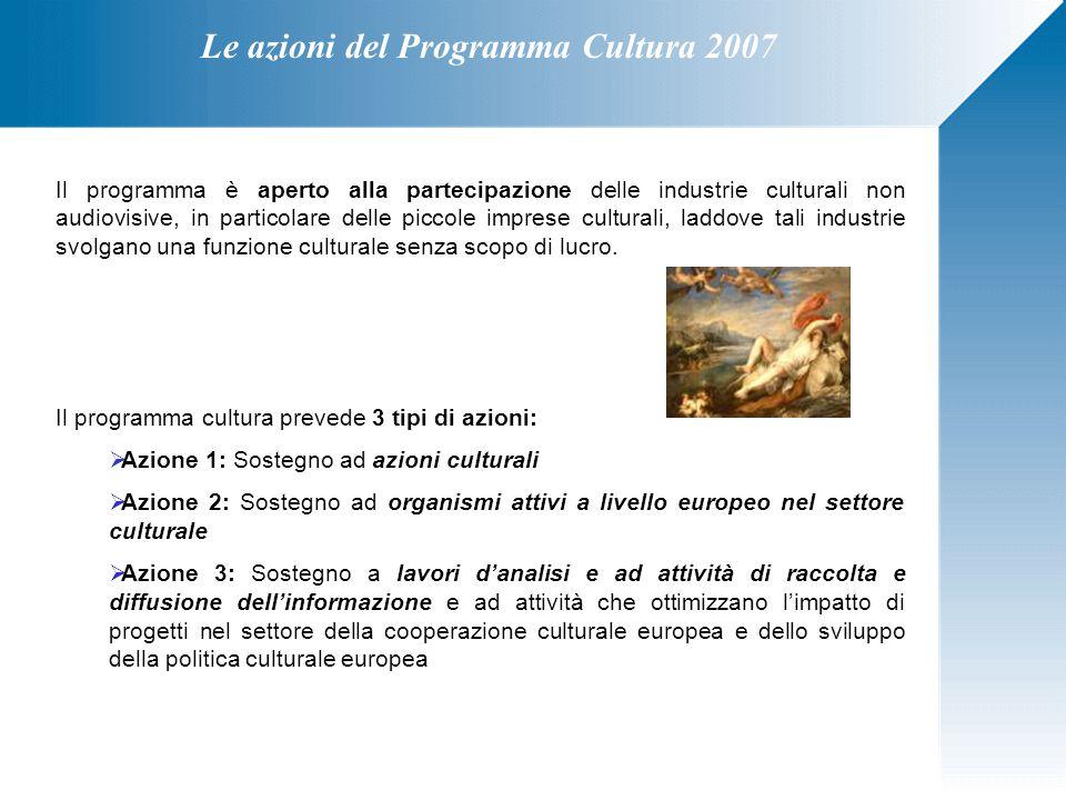 Le azioni del Programma Cultura 2007 Il programma è aperto alla partecipazione delle industrie culturali non audiovisive, in particolare delle piccole